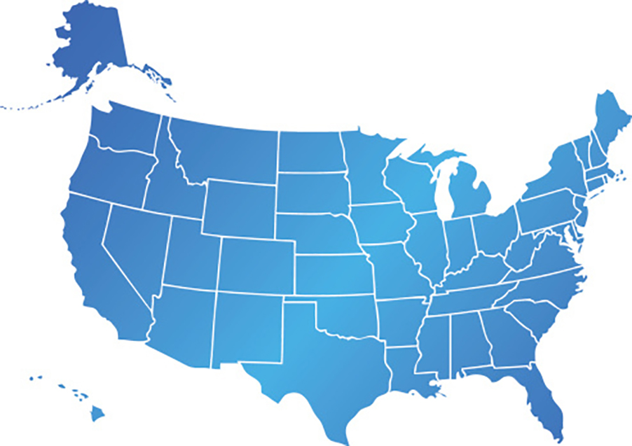 Blue United States map